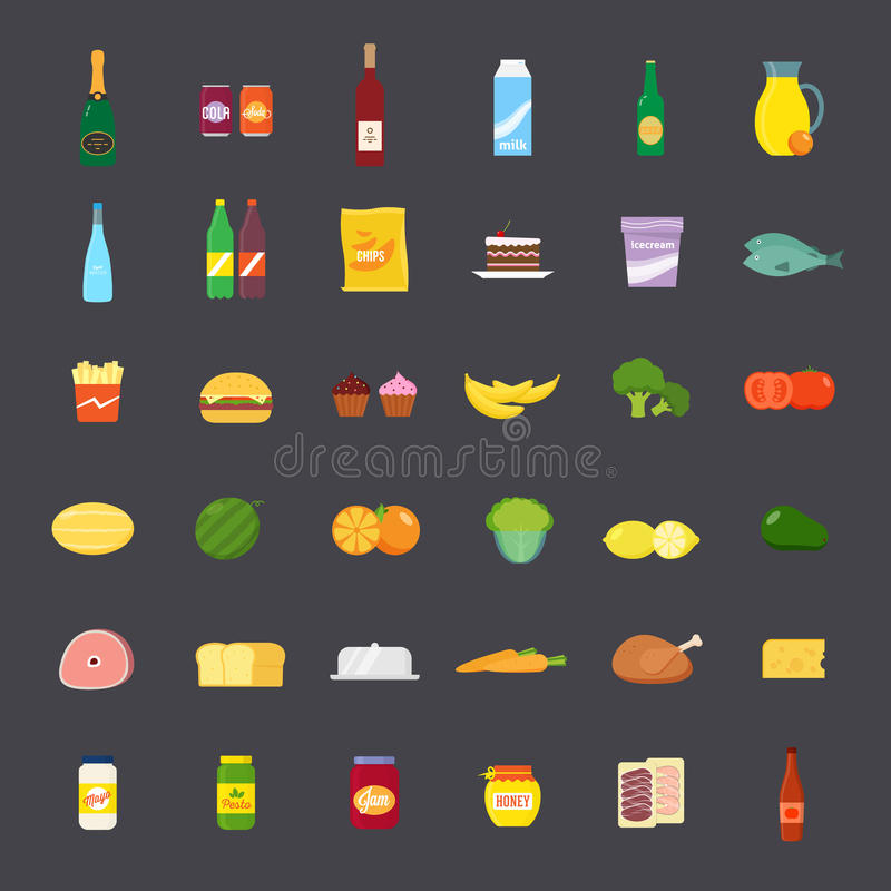 Flat Style Food and Beverages Icon Set stock illustration