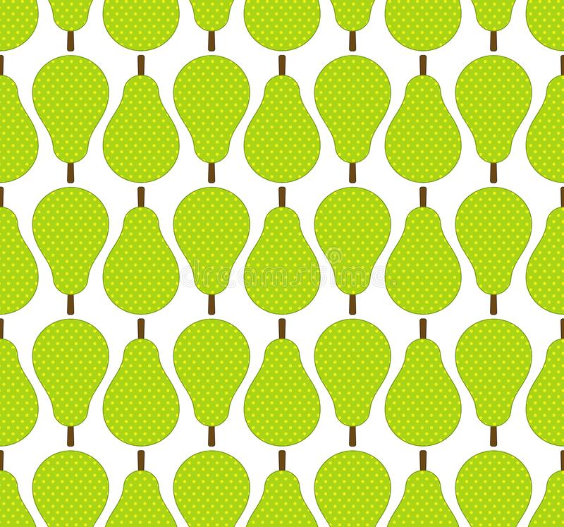 Flat style green pears fruits in rows seamless pattern, vector royalty free illustration