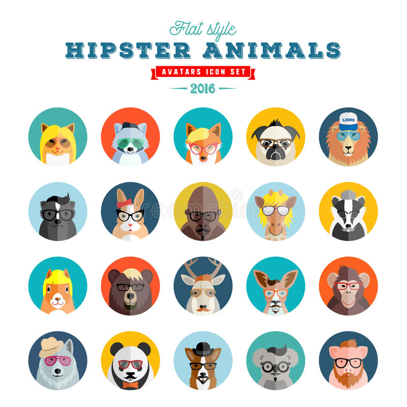 Flat Style Hipster Animals Avatar Vector Icon Set for Social Media or Web Site. Fauna Portraits. Mammals Faces. vector illustration