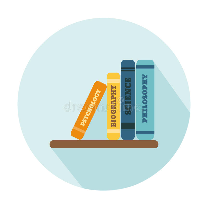 Flat Style Icon with Long Shadow. A shelf with books. Concept for education, training courses, self-development and how-to articles vector illustration