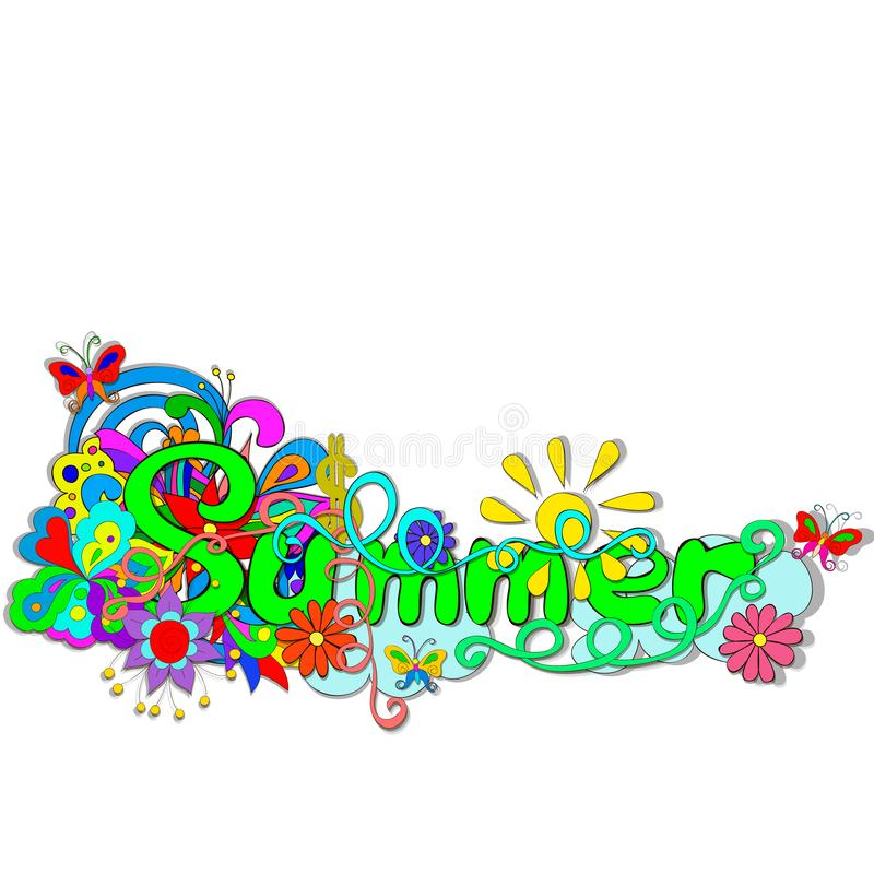 Flat style illustration with letters Summer, Flowers, butterfly, swirls on a white background. stock photos