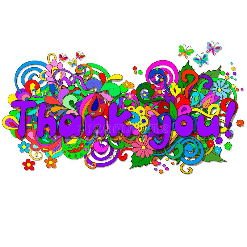 Flat style illustration with letters Thank You, Flowers, butterfly, swirls on a white background stock image