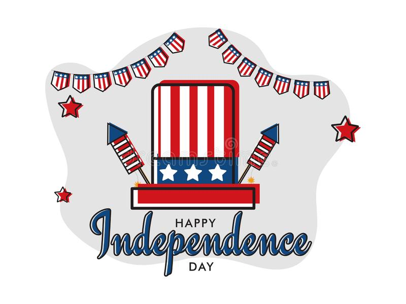 Flat style Independence Day banner or poster design with illustration of uncle sam hat and firework rockets in USA flag. royalty free illustration