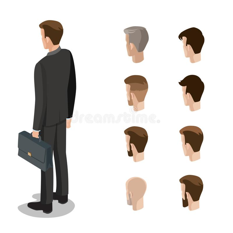 Flat style isometric hairstyle head face types of man illustration set. Diversity male business constructor: hair style, be vector illustration