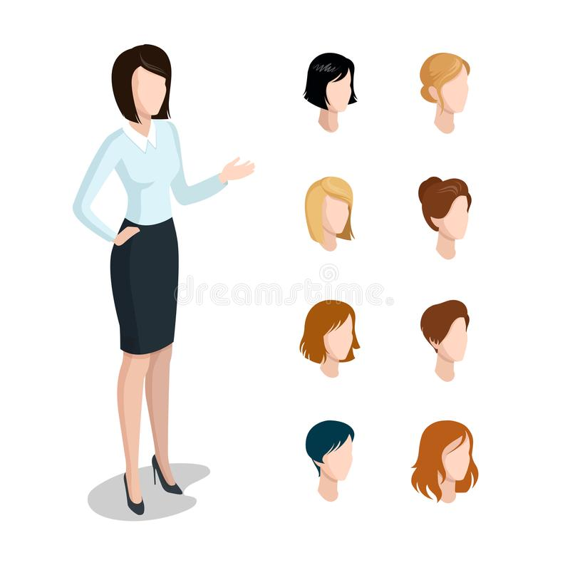 Flat style isometric head face types woman hairstyle illustration set. Diversity female business character constructor: hai royalty free illustration