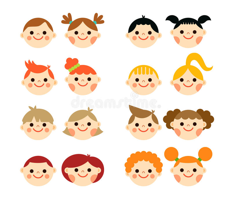 Flat style kids faces vector illustration