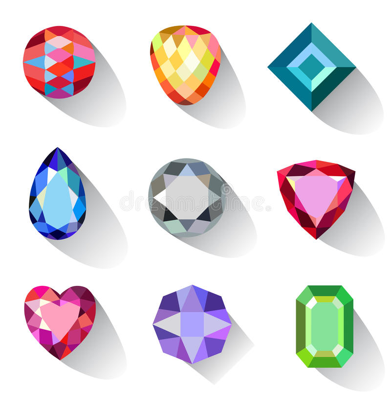 Flat style long shadow colored gems cuts icons stock illustration