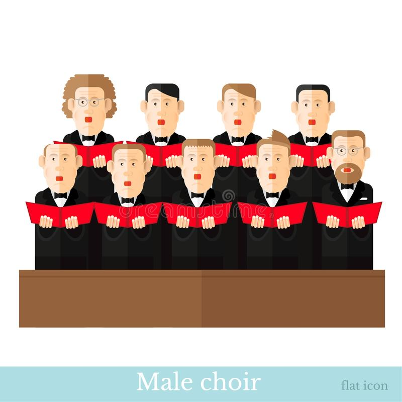 Flat style male choir in two raws with black suits and red cover note. S on white royalty free illustration