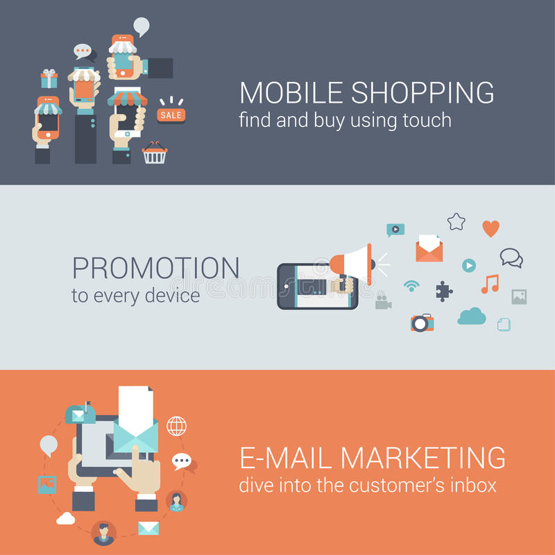 Flat style mobile e-commerce promotion infographic concept royalty free illustration