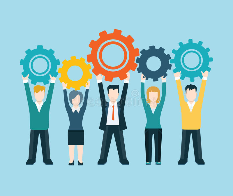 Flat style modern business people turn up cog wheel concept stock illustration