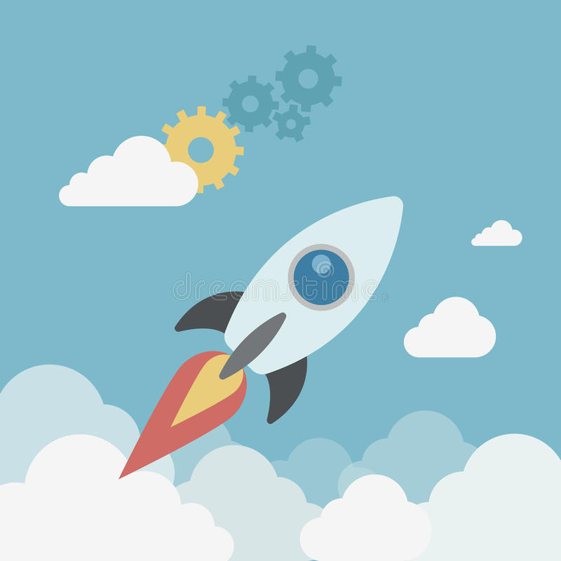 Flat style modern business start up spaceship launch concept royalty free illustration