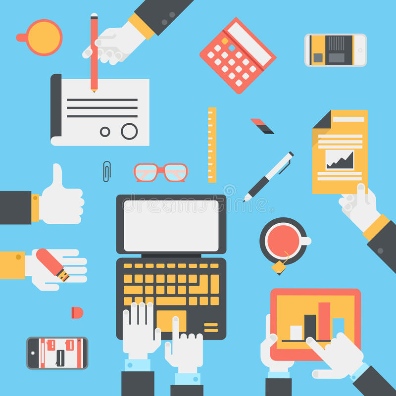 Flat style modern business technology desktop hands icon set. Flat style modern business technology desktop with hands laptop tablet touch screen smart phone stock illustration
