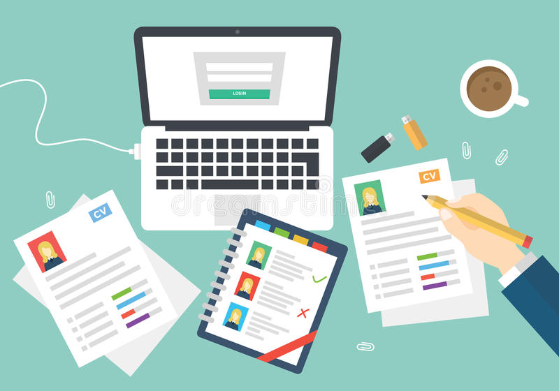 Flat Style Modern Design of Office Workplace. Icons Set of Business Work Flow Items and Gadgets. stock illustration