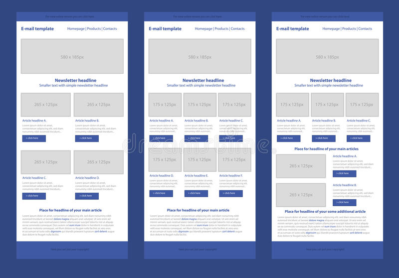 Flat style newsletter blue template. Professional flat style newsletter blue template stock illustration