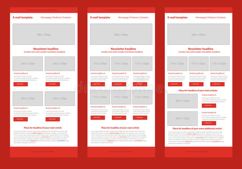 Flat style newsletter red template. Professional flat style newsletter red template vector illustration