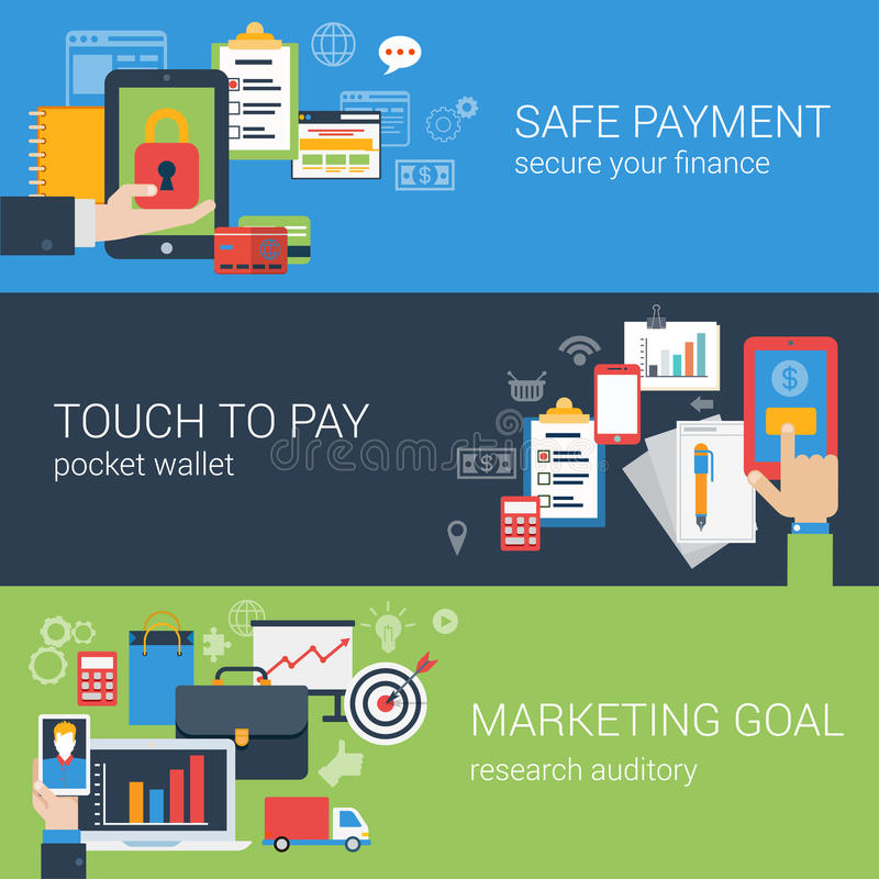 Flat style online payment banners set. Flat style web banner modern online business payment security icon set. Safe checkout touch to pay marketing goal banners stock illustration
