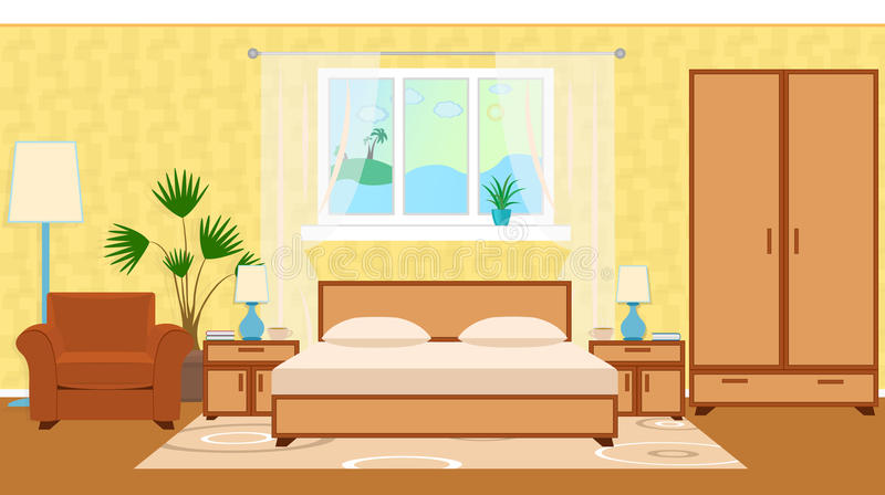 Flat style otel room interior with furniture, houseplant, ocean vector illustration