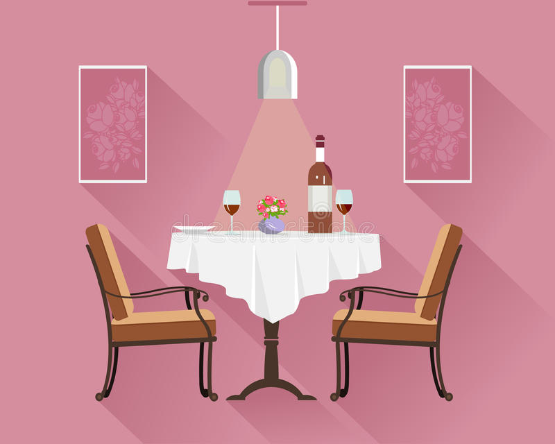 Flat style round restaurant table for two with white cloth, wine glasses, bottle of wine, plate and vase. Restaurant table. royalty free illustration