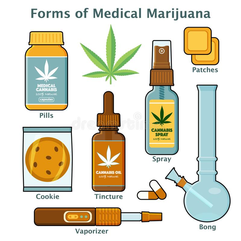 Cannabis, marijuana form for medical use with text stock illustration