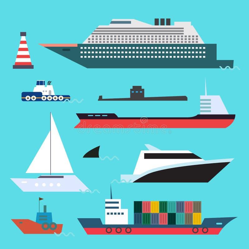 Flat style set of sea transport on blue water background stock illustration