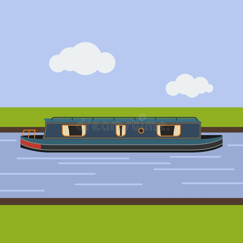 Free Flat Style Side View Narrow Boat On Canal Vector Illustration Stock Images - 103174034