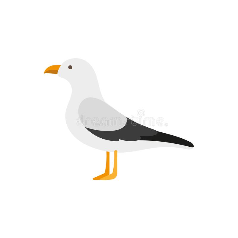 Flat style side view portrait of seagull albatross. Side view portrait of seagull, albatross, flat style cartoon vector illustration isolated on white background stock illustration