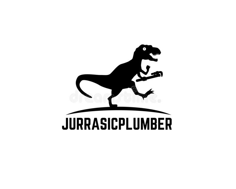 Tyrannosaurus rex running chasing something and holding plumbing wrench vector illustration