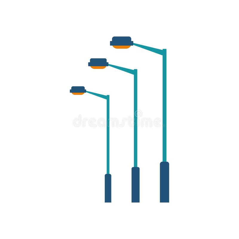 Free Flat Style Street Lamp Vector. Simple And Elegant Pole With Yellow Lantern Royalty Free Stock Photo - 145957985