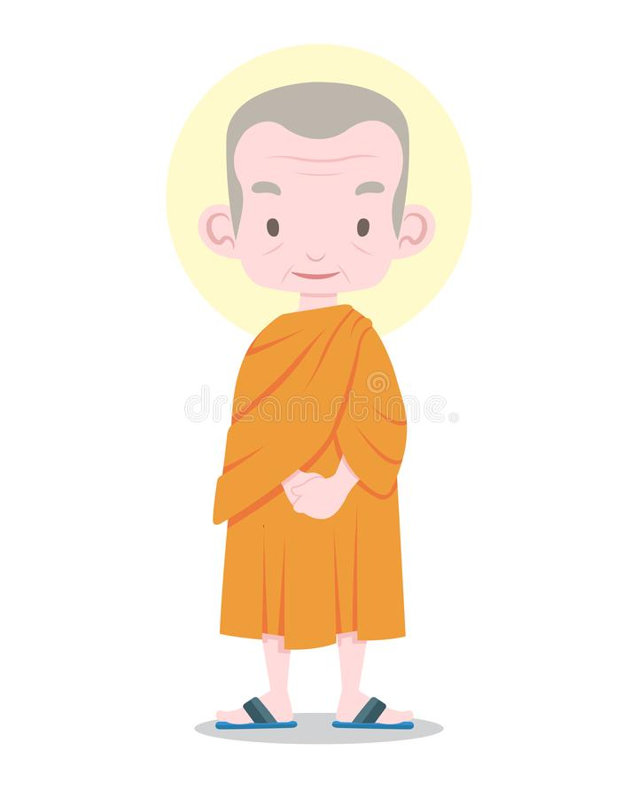 Flat style Thai monk cartoon illustration royalty free illustration