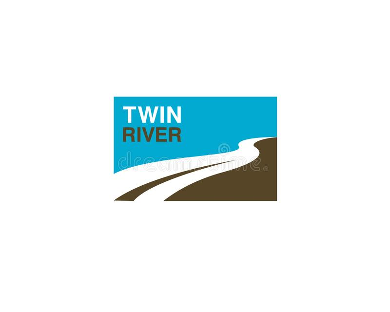 Twin river square logo banner style with two river as negative space vector illustration