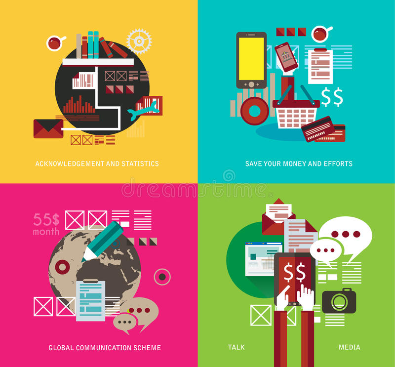 Flat Style UI Icons to use for your business project, stock illustration
