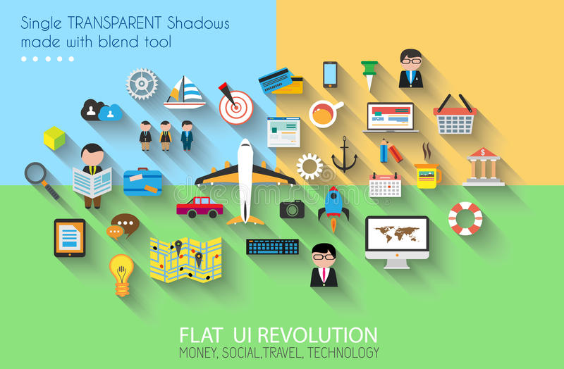 Flat Style UI Icons To Use For Your Business Project Stock Vector