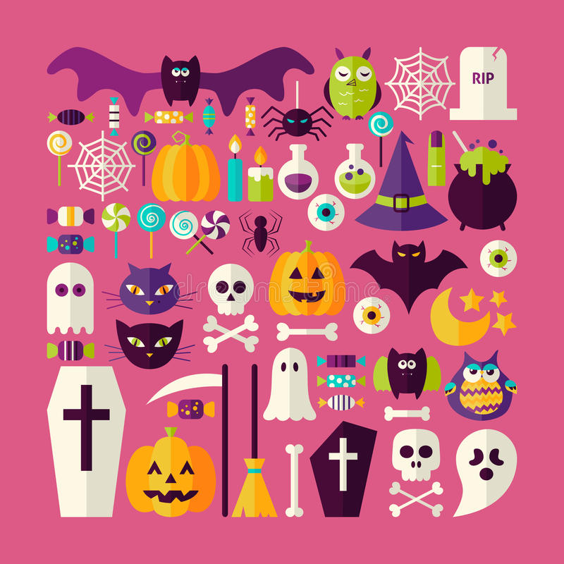 Free Flat Style Vector Big Set Of Halloween Holiday Objects And Eleme Stock Photo - 59644580