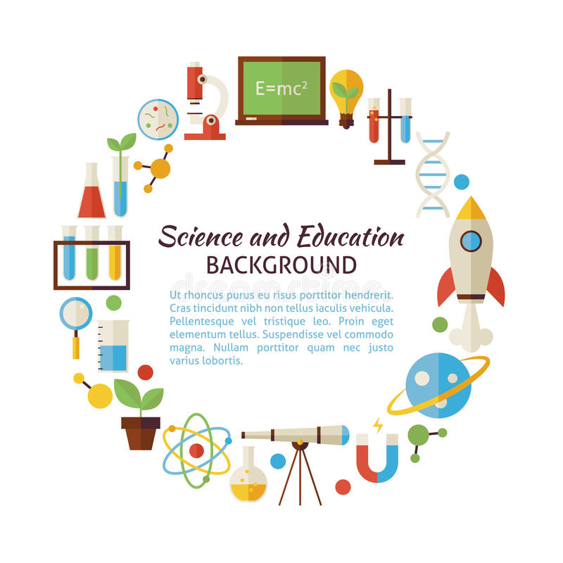 Flat Style Vector Circle Template Collection of Science and Educ royalty free stock images