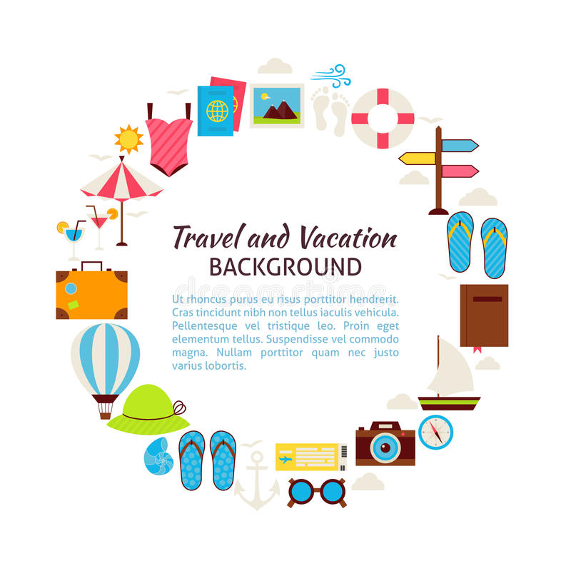 Flat Style Vector Circle Template Collection of Summer Vacation stock illustration