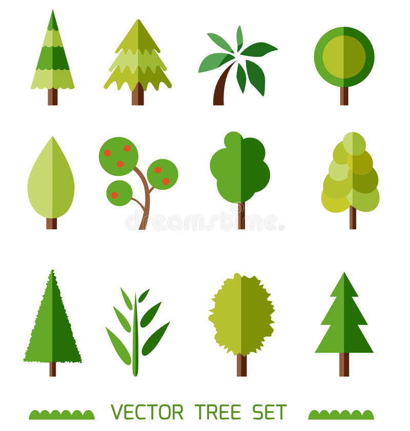 Flat style vector elements set. Different types of trees. Game icons. stock illustration