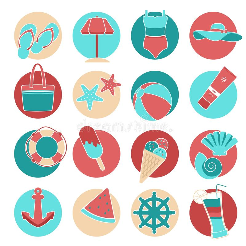 Flat style vector icon set. Set of colorful beach icons swimsuit, sea, hat, sunscreen, tan, cocktail, drink, glass stock illustration