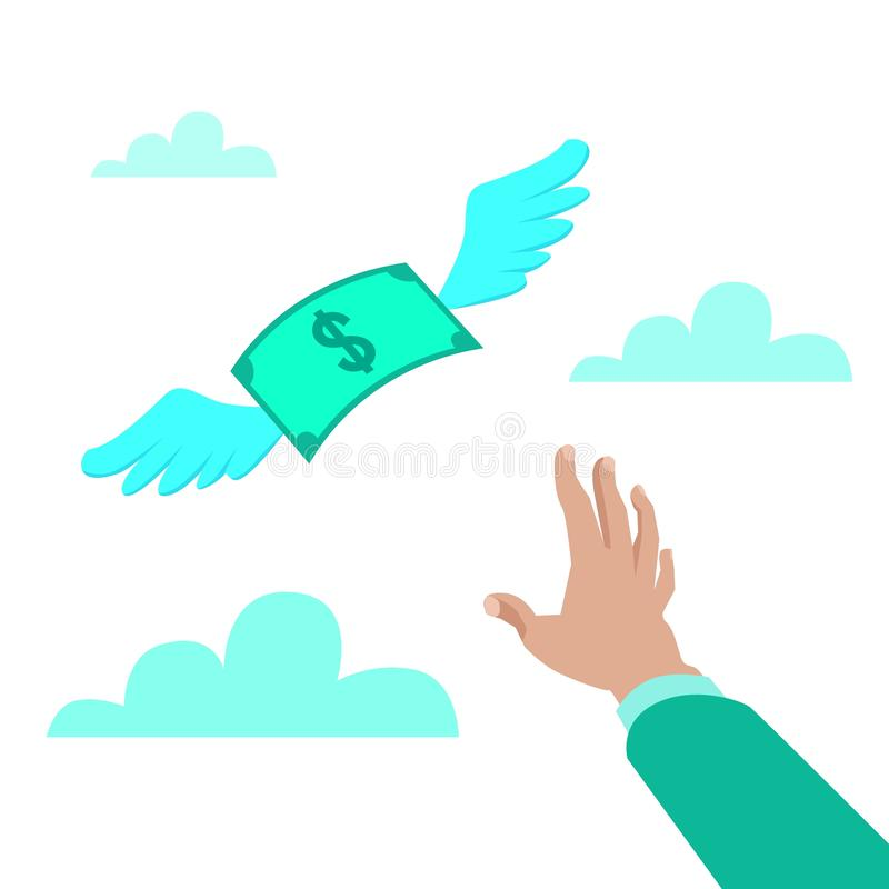 Flat style vector illustration of a hand reaching for paper money with wings flying away, loss concept vector illustration