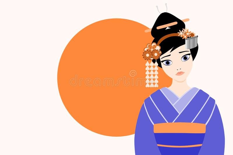 Flat style vector illustration of a young and beautiful japanese Geisha stock illustration