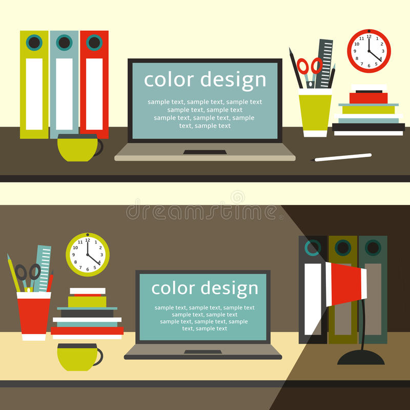 Flat style work space table with laptop stock illustration