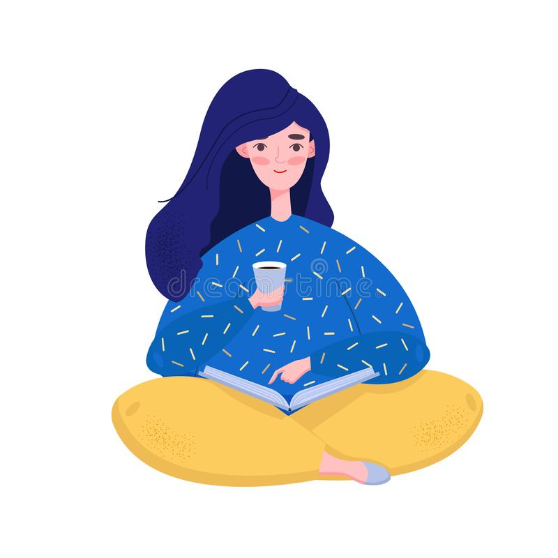 Flat style young girl holding coffee and reading the book. Educational concept. Isolated Vector illustration royalty free illustration
