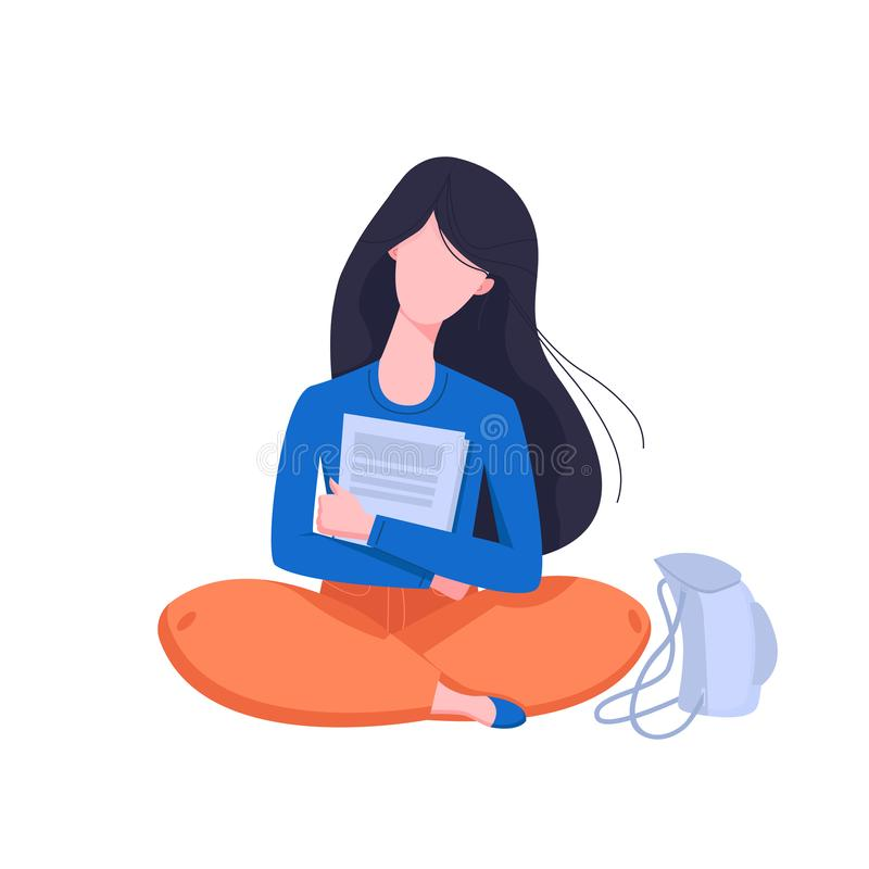Flat style young girl holding documents and sitting with backpack. Educational concept. Isolated Vector illustration vector illustration