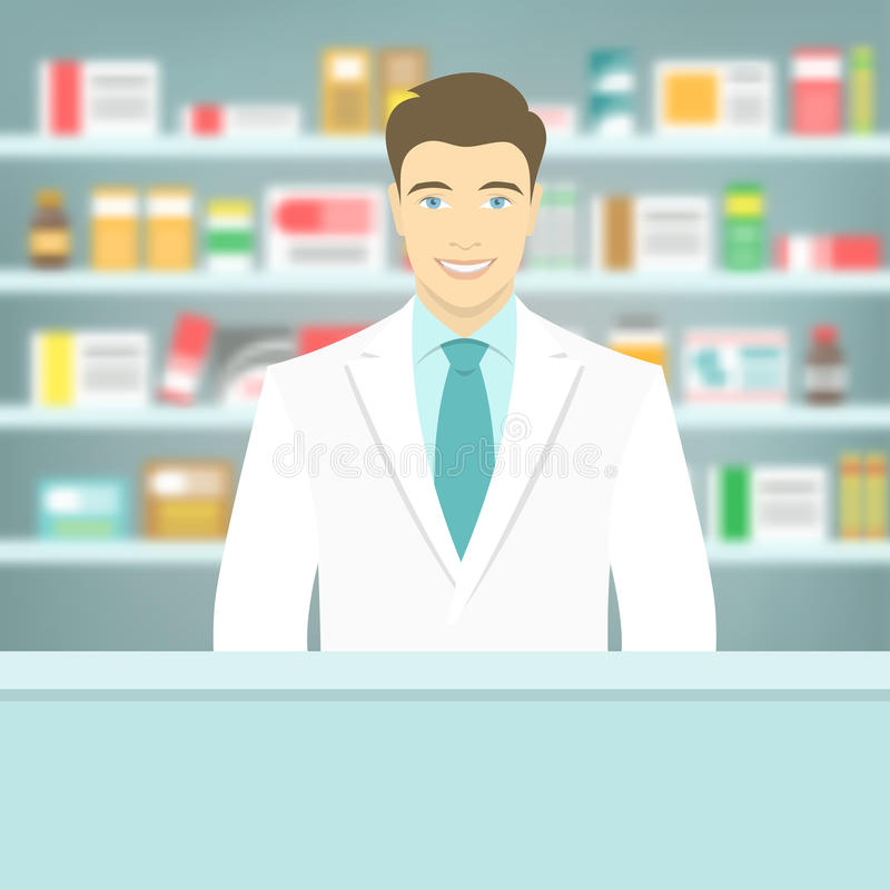 Flat style young pharmacist at pharmacy opposite shelves of medicines royalty free illustration
