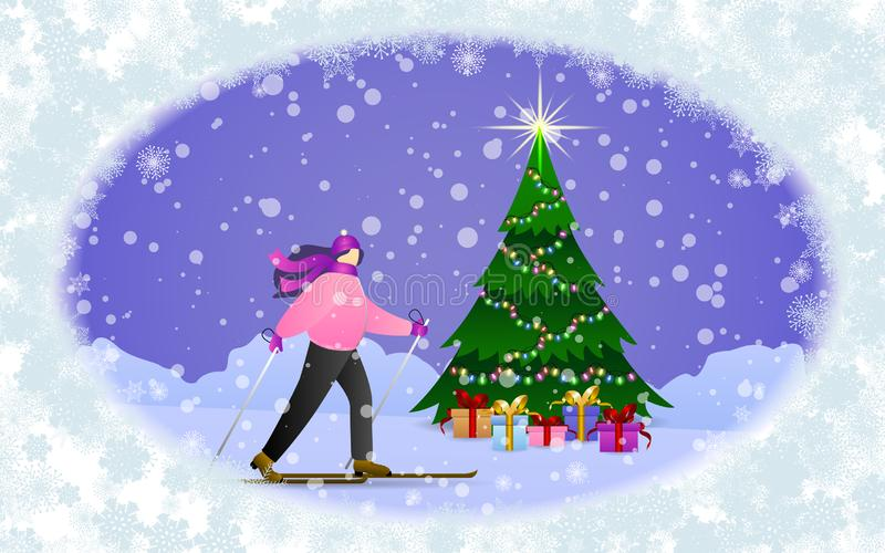 Flat style young women goes skiing at holiday. Colorful winter banner with falling snowflakes, skiing girl, snowdrifts, christmas vector illustration