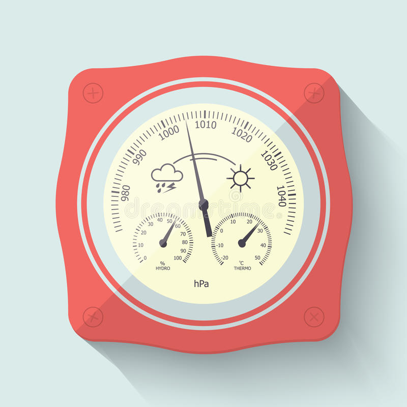 Flat Stylized Barometer Instrument. Vector Illustration. Flat Stylized Barometer Instrument, with scales for measuring air temperature and air humidity. Vector royalty free illustration