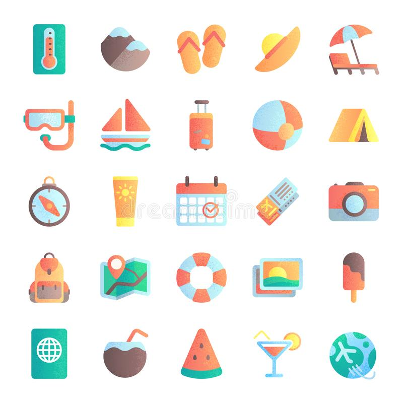 Flat summer icons. Vacation tour, beach umbrella in sand. Sea ship, sunrise and hot sun icon vector illustration set stock illustration