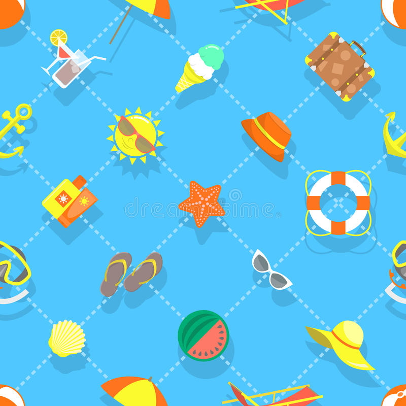 Flat Summer Vacation Beach Icons Seamless Background Pattern stock illustration