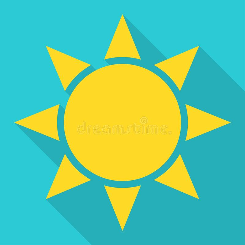 Flat sun Icon with shadow. Summer pictogram. Sunlight symbol. Vector, illustration, sunshine, hot, element, heat, sign, weather, yellow, graphic, silhouette stock illustration