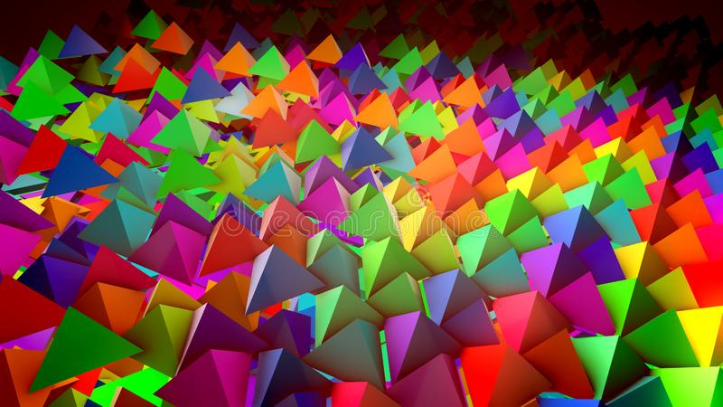 Flat surface with dozens of pyramids. Cheerful 3d illustration of multicolored pyramids located on a flat surface horizontally in straight and long rows with royalty free illustration