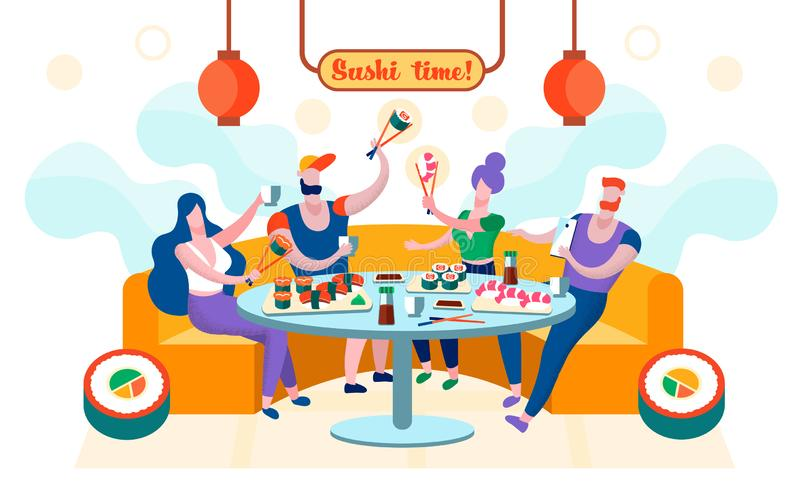 Flat Sushi Time is Written Vector Illustration. royalty free illustration